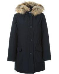 Woolrich - Blue Hooded Parka - Lyst