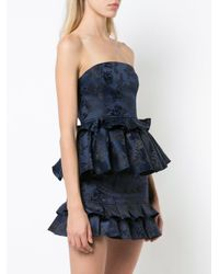 C/meo Collective Blue Strapless Ruffle Top