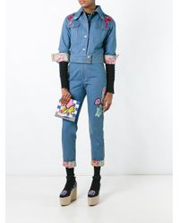 Olympia Le-Tan Blue Floral Turn-up Beaded Jeans