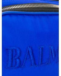 メンズ Balmain ロゴ ベルトバッグ Blue