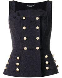 Dolce & Gabbana Blue Logo Button Detail Top