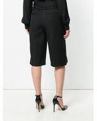 Saint Laurent Black Pleated Front Knee Length Shorts