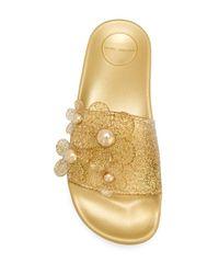 Marc Jacobs Metallic Flower Design Slippers