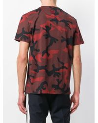 Valentino Red Camouflage Print T-shirt for men