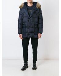 Moncler - Blue 'gaze' Hooded Coat for Men - Lyst