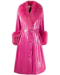 Belted leather midi coat di Saks Potts in Pink