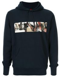 Supreme Blue Graphic Print Hoodie for men