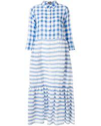 Robe longue à rayures et carreaux Altea en coloris Blue