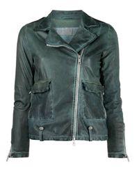 Veste en cuir à effet usé Giorgio Brato en coloris Green