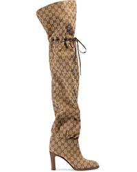 Gucci Multicolor Original GG 85mm Canvas Over-the-knee Boots