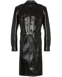 Prada Black Leather Belted Military Coat for men