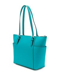 MICHAEL Michael Kors - Jet Set Item East-west Top Zip Tote Bag In Turquoise Blue Saffiano Leather - Lyst