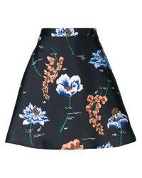 Markus Lupfer Black Floral A-line Skirt