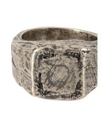 Tobias Wistisen Metallic Embossed Design Square Ring