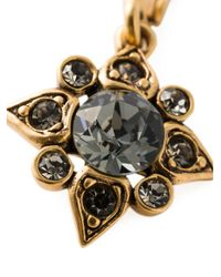Oscar de la Renta Gray Star Crystal Earrings