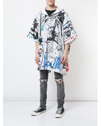 Haculla - White Paint Canvas Poncho Coat for Men - Lyst