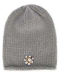 Inverni - Gray Beanie With Jewel Embellishment - Lyst