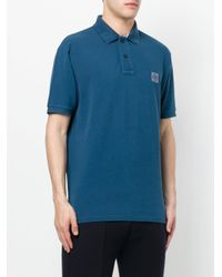 Stone Island | Blue Branded Polo Shirt for Men | Lyst