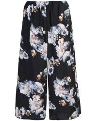 Vince Black Cropped-Hose mit Blumenmuster