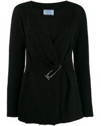 Prada Black Safety Pin Cardigan