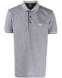 BOSS Gray Piqué Polo Shirt for men