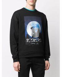 Felpa con stampa di Iceberg in Black da Uomo