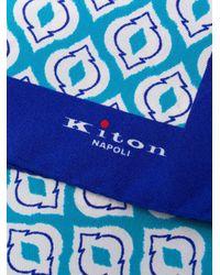 メンズ Kiton ジオメトリック スカーフ Blue