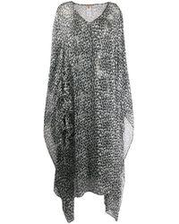 Ermanno Scervino Black Sheer Draped Leopard Print Dress