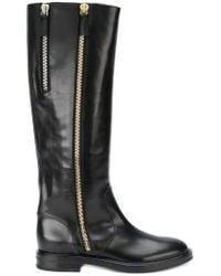 Casadei Black Zip-embellished High Boots