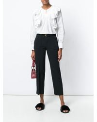 RED Valentino Black Pleated Cropped Slim Trousers