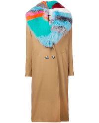 Giada Benincasa Multicolor Contrast Collar Coat