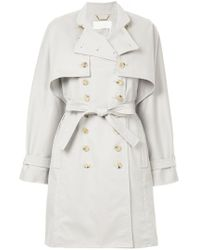 Chloé - Gray Double Breast Trench Coat - Lyst
