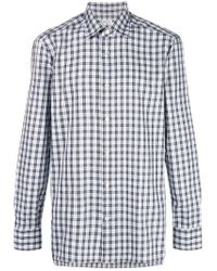 Kiton - Gray Checked Button Shirt for Men - Lyst