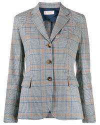 Alberto Biani チェック スリムフィットジャケット Gray