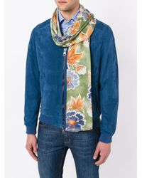Kiton - Green Floral Print Scarf for Men - Lyst