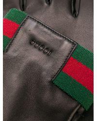 Gants en cuir à détail Web Gucci pour homme en coloris Black
