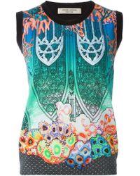 Piccione.piccione - Black Gothic Archway Reef Print Contrast Trim Gilet - Lyst