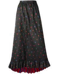 Philosophy Di Lorenzo Serafini Black Flower Long Skirt