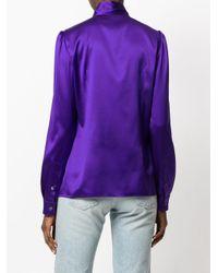 Dolce & Gabbana Purple Pussy Bow Blouse