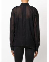 Saint Laurent Black Voile Wide-sleeved Shirt