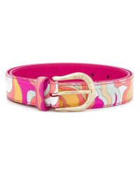 Emilio Pucci Pink Abstract Printed Belt