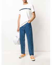 メンズ A.P.C. ロゴ ストライプ Tシャツ White