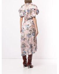 Preen By Thornton Bregazzi Pink Gerafftes Kleid mit Blumen