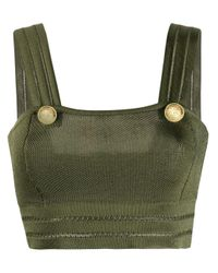 Balmain Green Buttoned-detailed Tank Top