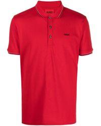 メンズ BOSS by Hugo Boss ストライプトリム ポロシャツ Red