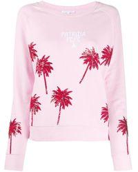 Sudadera con palmeras de lentejuelas Patrizia Pepe de color Pink