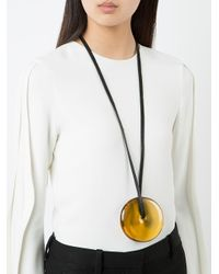 Monies - Black Disc Pendant Necklace - Lyst