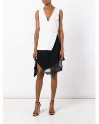 Mugler White V-neck Side Slit Top