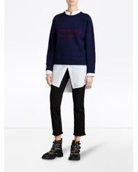 Burberry - Blue Logo Printed Jumper - Lyst