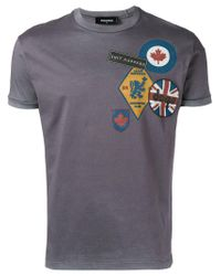 DSquared² - Gray Logo Patch Print T-shirt for Men - Lyst